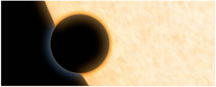 Figure 1: Artist concept of HAT-P-11b: a Neptune-size planet with a clear atmosphere shown crossing in front of its star. Credits: NASA/JPL-Caltech.