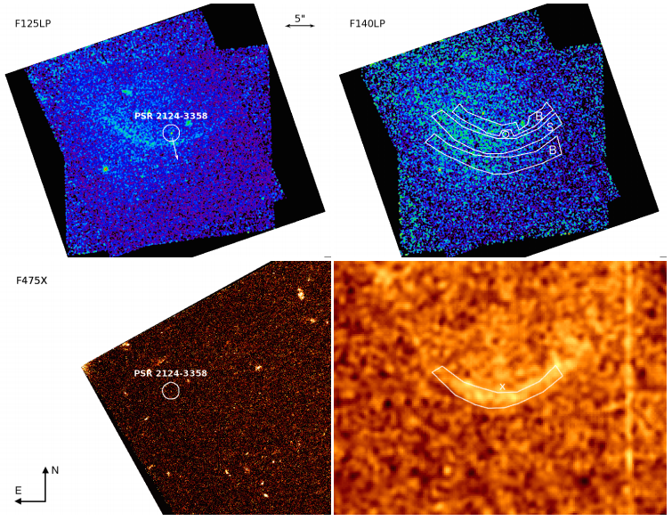 Figure 1: New observations from this study using the HST at three different wavelengths are shown in the top (left and right) and bottom left images. The shock is clearly visible in the far-UV using the F125LP filter. The bottom right image shows a previous H-alpha observation of the same pulsar. Figure 1 in the paper.