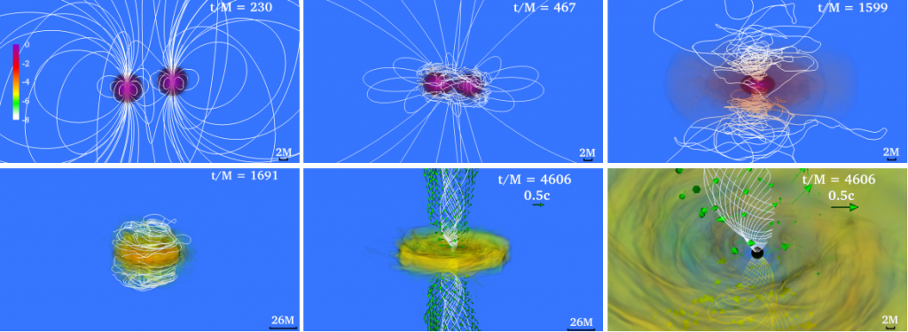 This series of images from the Ruiz et al. publication shows the stages of NS merging. Colors indicate rest mass density (for example, the NSs are shown in purple in the first panel). The process starts from two separate, orbiting NSs with dipole magnetic fields (white lines). Their orbit shrinks as energy is lost to gravitational radiation, and tidal forces cause them to become oblate as they draw nearer. Eventually a high-mass NS is formed, which collapses into a black hole. Helical jets with twisted magnetic fields are finally formed with energies comparable to observed short GRBs.