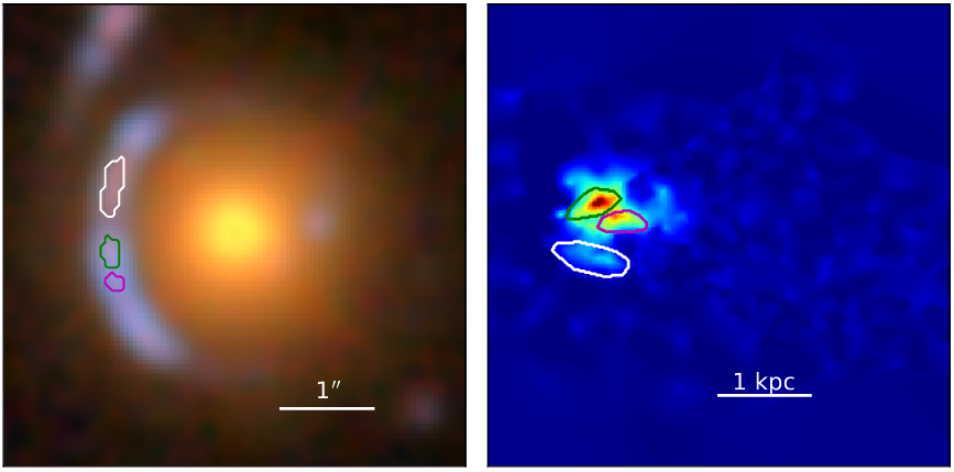 galaxy gravitationally lensed by foreground galaxy, shown next to its true de-lensed shape