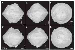 Shape models of Ryugu showing 6 different vantage points around the asteroid