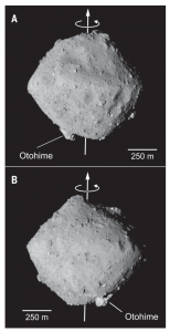 Two images of asteroid Ryugu, showing a spinning top shape.