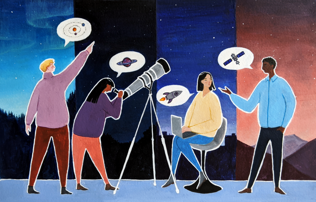 An illustration of four people with different skin tones wearing colourful clothes, talking about astronomy. The background behind each person is a different sky and landscape, showing that they are in different timezones. One of them is pointing at the sky, another is looking through a telescope, one is on a laptop and the other is talking to them. They each have speech bubbles showing pictures of astronomical ideas such as planets and satellites.