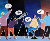 An illustration of four people of different ethnicities and genders, wearing colourful clothes, talking about astronomy. The background behind each person is a different sky and landscape, showing that they are in different timezones. One of them is pointing at the sky, another is looking through a telescope, one is on a laptop and the other is talking to them. They each have speech bubbles showing pictures of astronomical ideas such as planets and satellites.