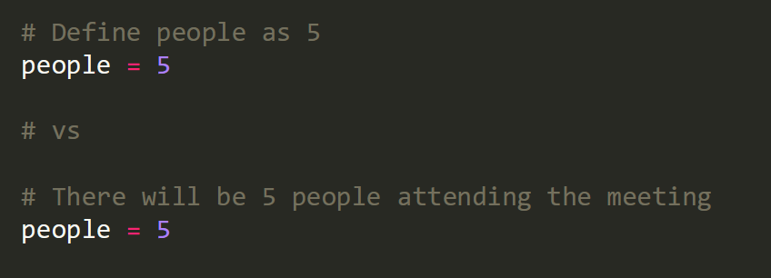 A block of code is shown with two alternate comments preceding the definition of a variable called 'people', with the line 'people = 5'. The first version of comment reads 'Define people as 5', while the second version of the comment reads 'There will be 5 people attending the meeting'.