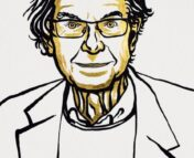 A yellow & black illustration of Roger Penrose.