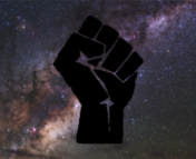 Black silhouette of Black Power fist superimposed over an optical image of the Milky Way