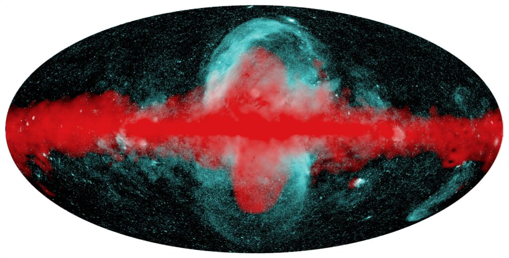 All sky map with green x-ray bubbles extending farther away from the Galactic Plane than the gamma-ray detected bubbles