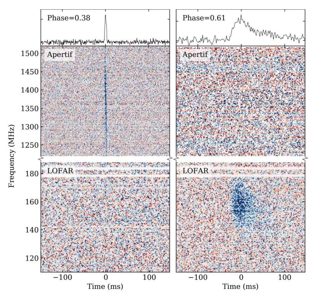Image showing two FRB burst detections as a function of radio frequency and time. One burst seen at APERTIF at around 1400 MHz is very narrow and not scene at low frequencies around 150 MHz by LOFAR. The other burst seen at low frequencies by LOFAR but not at higher frequencies by APERTIF appears to be smeared out a bit, characteristic of pulse scattering by the interstellar medium.