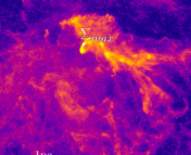 A density image of filaments in the Polaris Flare region, with a 1pc scale bar.