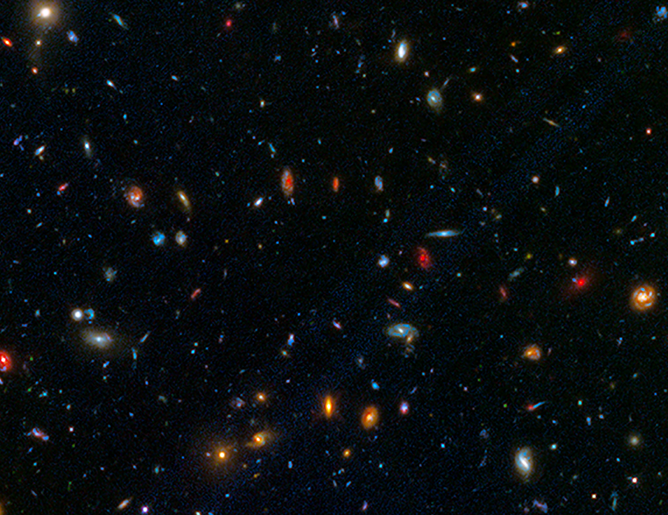 A dark background is dotted with galaxies of different shapes, sizes, and colors. There are red elliptical galaxies, blue spiral galaxies, and everything in between. This picture represents a snapshot of cosmic time in a particular part of the sky.