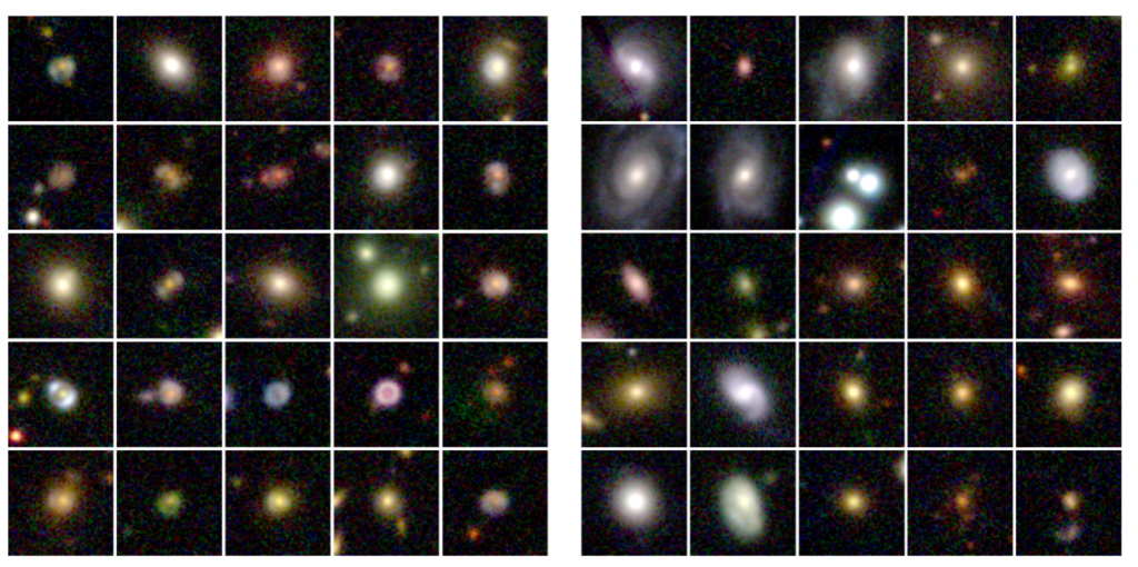 Left is an array of gravitational lenses painted over galaxies from the COSMOS survey. On the right is an array of objects that could be mistaken for lensed sources such as irregular galaxies.