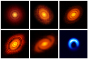 Gallery of six example protoplanetary disc images from ALMA