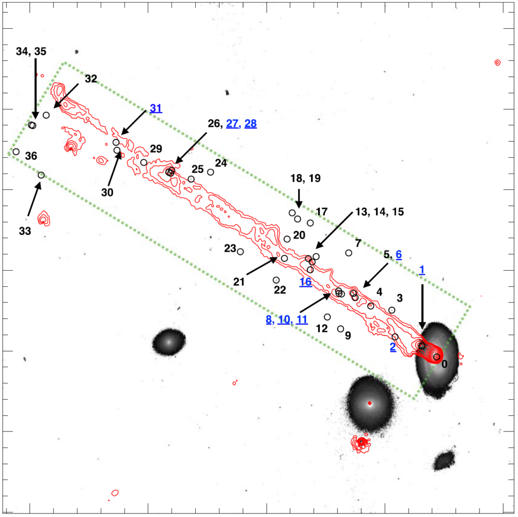 Image similar to the left panel of Figure 1, showing a spiral galaxy in the bottom-right corner. The red gas tail from Figure 1 has been replaced with contour lines, showing the outline of the tail, and highlighting dense regions. 37 points are marked on the figure, mostly in or near the tail, which are each labelled with numbers. 10 of these numbers are in blue and are underlined, the rest are in black.