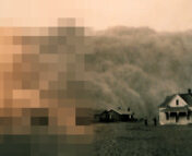 Image of a dust storm behind a house, with the left side pixelated to demonstrate varying levels of resolution