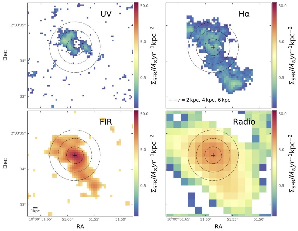 Four panel figure showing star formation probed by each of the four wavelength regime calibrators. Each map the same extended and compact regions of star formation throughout the galaxy, except UV which shows patchy holes in the dust.