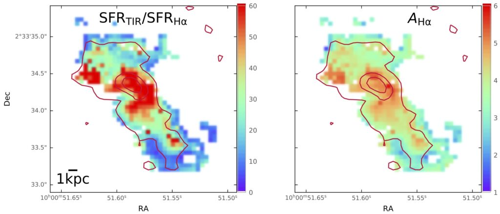 Two panel figure, the left shows the discrepancy between short wavelength and long wavelength star formation rate calibrators and the right shows the level of dust attenuation. The regions with more dust attenuation (in the galaxy nucleus primarily) also have the highest discrepancy.