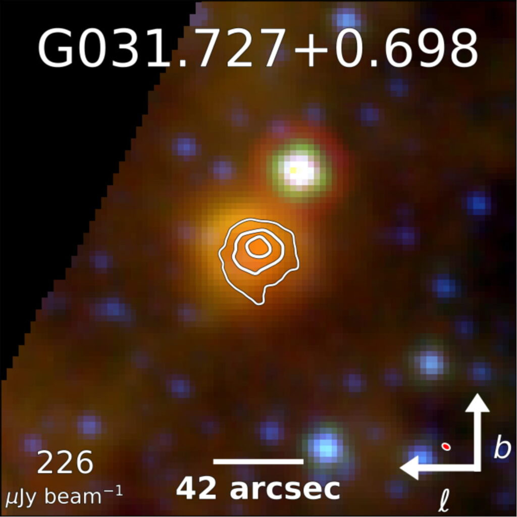 Image of target G031.727+0.698 from VLA shows a bright region of approximately 50 arcseconds in diameter, which overlaps with the bright area in the infrared from WISE.