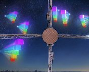 A cartoon picture of fast radio burst pulses approaching the ASKAP radio telescope from many different directions. Each radio pulse is split up into a number of smaller sub-pulses of different colors to illustrate the dispersion of radio waves of differing frequency as they propagate through intergalactic space.