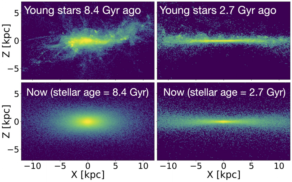 Four panelled plot. Top left panel: very messy distribution of star formation, showing a roughly elliptical cloud of star formation, labelled as occurring 8.4 Gyr ago. Bottom left panel: shows the positions of these stars at the present day. The stars are distributed in a thick disc, approximately four times wider than it is thick. Top right panel: distribution of star formation 2.7 Gyr ago, which is occurring in a much thinner, neater strip. Bottom right panel: positions of these stars at the present day, in a thin disc, approximately 10 times wider than it is thick.