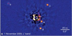 Direct image of the HR 8799 system, showing planets from innermost to outer) e, d, c, b.