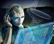 BLI cartoon of a robot listening for signs of intelligent life with a radio telescope in the background.