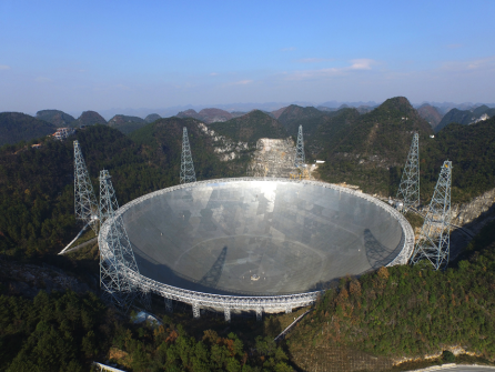 Image of the FAST observatory in southwest China, nestled in a landscape of karst depressions.