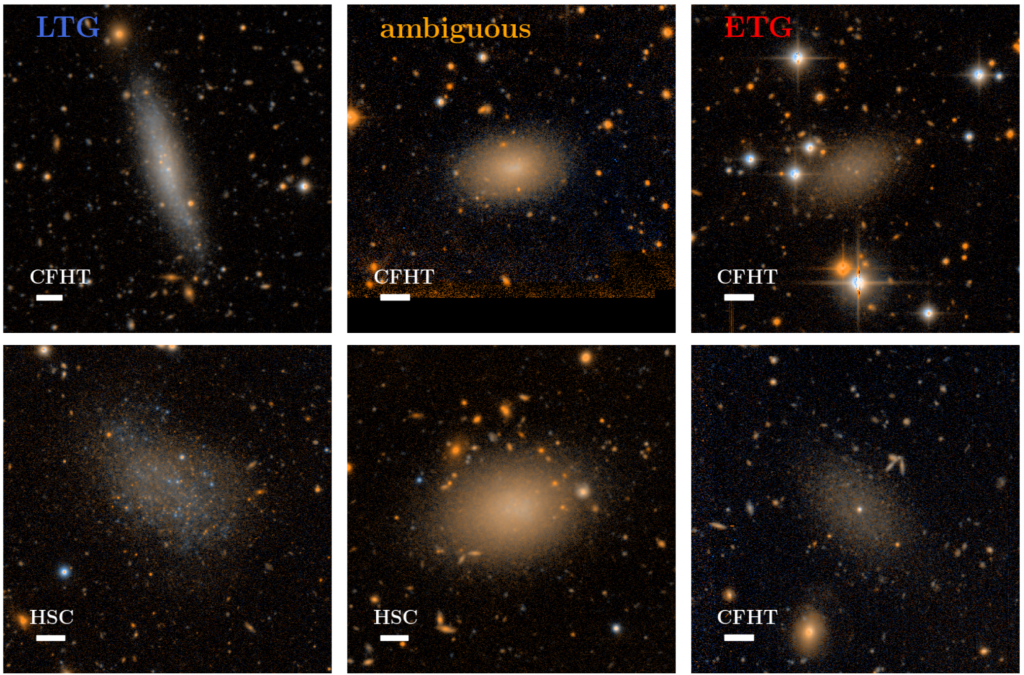 Examples of dwarfs visually classified as 'early-type' (ETG), ambiguous, and 'late-type' (LTG). Late-type dwarfs are irregular shaped, with apparent active star formation throughout the galaxy while early-types are smooth and featureless without any star-forming clumps.