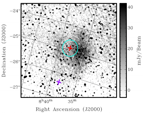 This image shows the radio emission detected in GLEAM data and possibly associated with PSR J0837-2454.