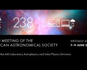 A banner image with a galactic background, the symbol of the AAS and the number 238, and images of computers, phones, and the cloud to show it's virtual. The text reads: 23 8TH MEETING OF THE $\quad$ VIRTUALLY ANYWHERE AMERICAN ASTRONOMICAL SOCIETY 7-9 JUNE 2021 Joint with the AAS Laboratory Astrophysics and Solar Physics Divisions