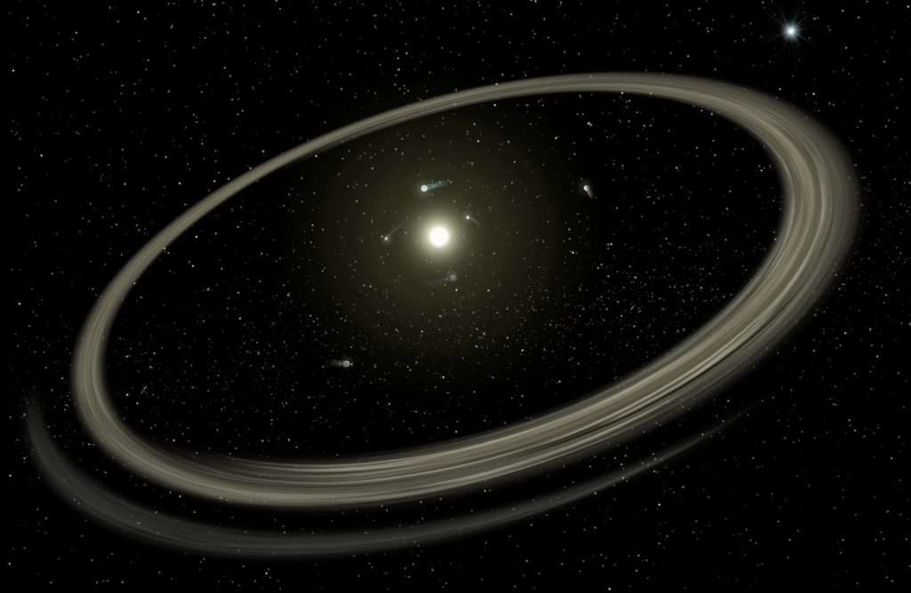illustration of a star circled by a handful of orbiting planets and a wide, thin dust ring.