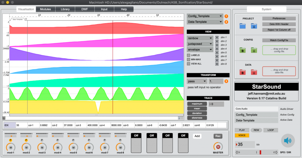 A screenshot of the Starsound sonification interface.