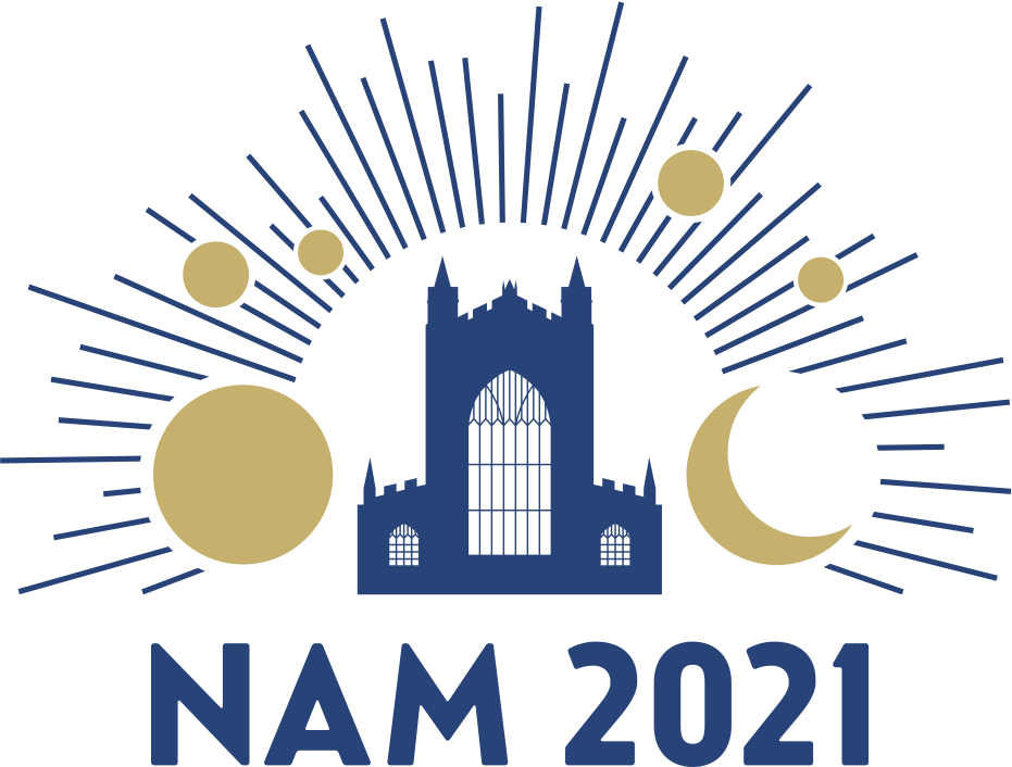 The National Astronomy Meeting 2021 logo. It is a simple graphic shows a silhouette of Bath abbey in blue in the centre, celebrating the city hosting the conference, and then gold circles implying astronomical objects and a moon shape, with rays extending out from the centre. Underneath is written NAM 2021