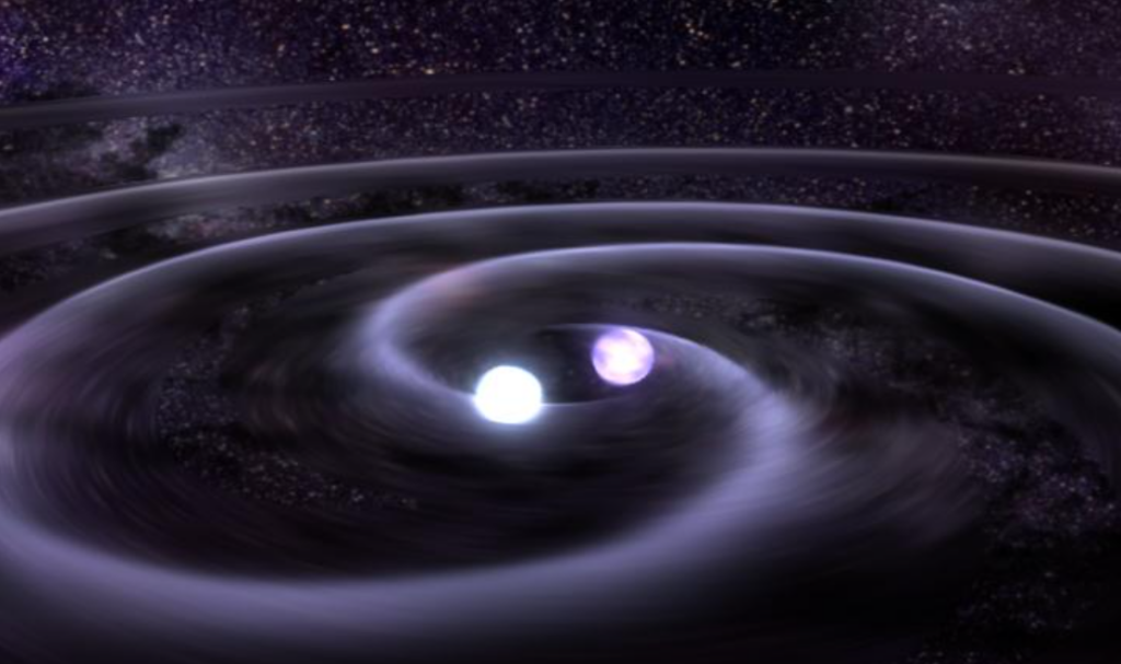 Artist's impression of gravitational waves emitted by a pair of merging neutron stars.