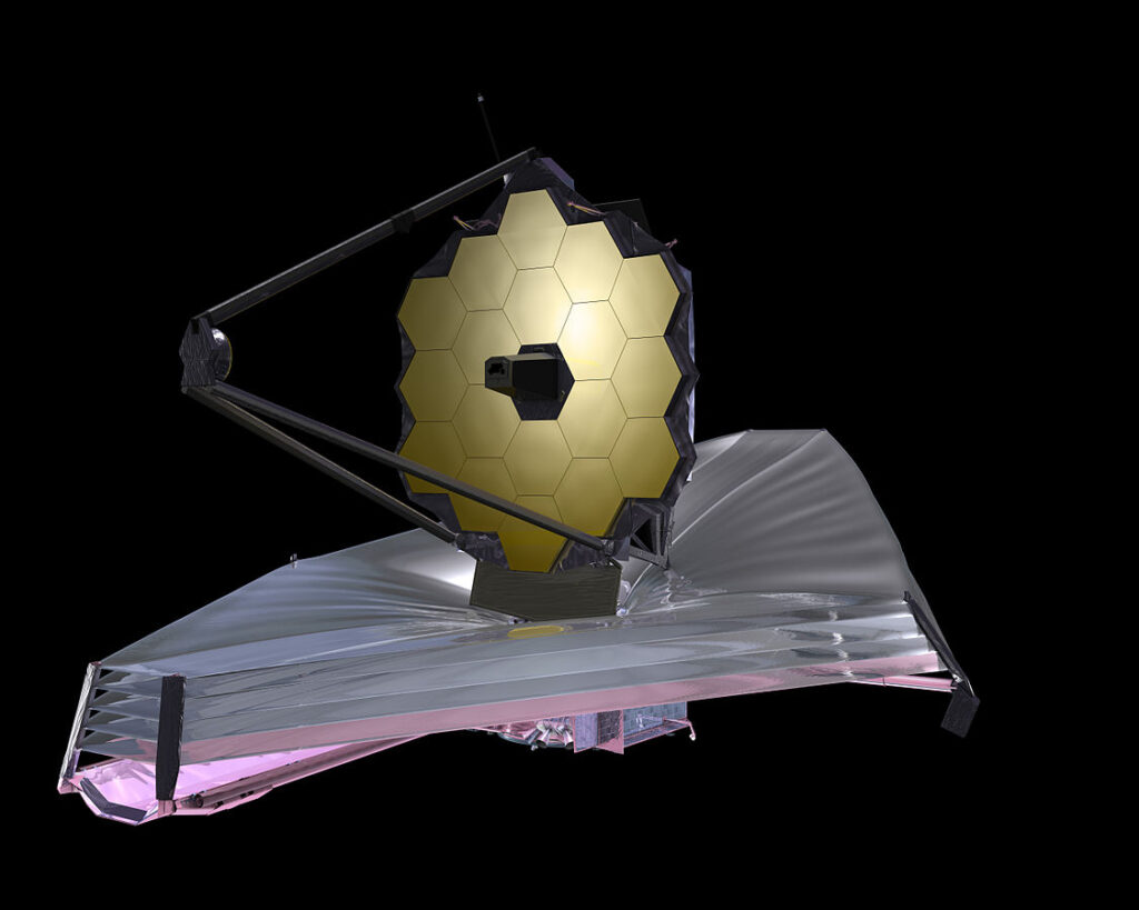 Artist's impression of the James Webb Space Telescope deployed in space.