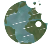 Hand-drawn image of Earth in the shape of the Astrobites logo.