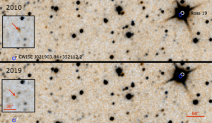 Images from the WISE mission demonstrating the similar proper motion of the M-type star Ross 19A and the candidate brown dwarf, taken in 2010 (top panel) and 2019 (bottom panel). Ross 19A is seen in the top right hand corner of each panel, while the candidate object that would become Ross 19B is in the bottom left hand corner. Ross 19A is seen as a large black compass shape, while Ross 19B is a tiny brown dot. To highlight the proper motion of each object, the white circles in both panels indicate their positions in 2010, while the blue circles do the same for 2019. Both objects are seen to have moved a similarly small distance towards the upper right. In both panels, inserts show a zoom in of the location of Ross 19B to help clarify it's difference in position over time.