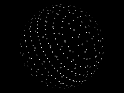 Several dozens of white points arranged in a spherical cloud on a black background
