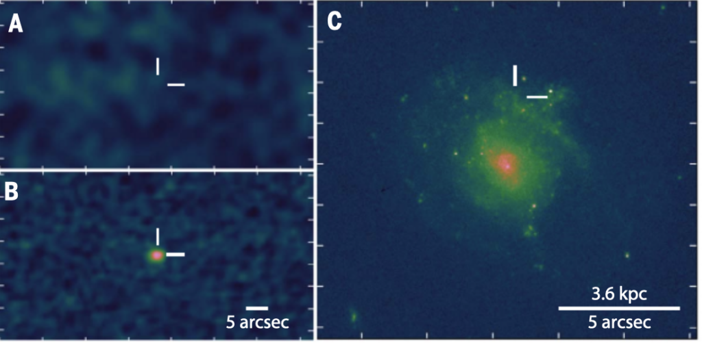 A three paneled figure. The top left panel shows a blank image with white crosshairs. The bottom left image shows a similar image, but a blob is present within the crosshairs. The right panel shows a galaxy and the position of the crosshairs relative to the galaxy. The crosshairs are located to the north of the galaxy, significantly offset from its nucleus.