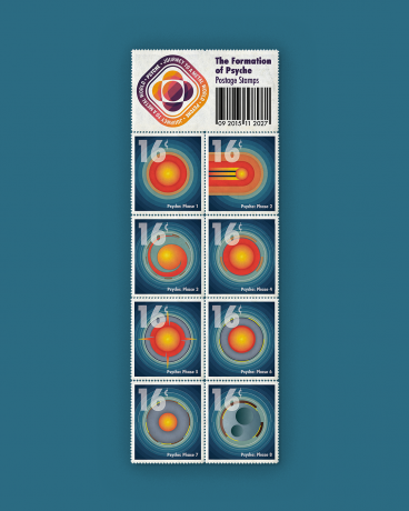 Illustration of postage stamps where each square shows a series of stylized circles and swirls representing Psyche's formation